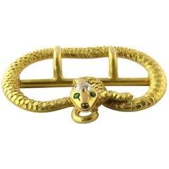 Antique Victorian 14 Karat Gold Diamond and Emerald Snake Belt Sash Buckle