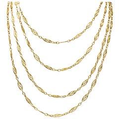 Antique Victorian 18 Karat Gold Watch Long Chain Necklace