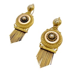Antique Victorian 14 Karat Two Colour Gold Natural Pearl Dangling Earrings