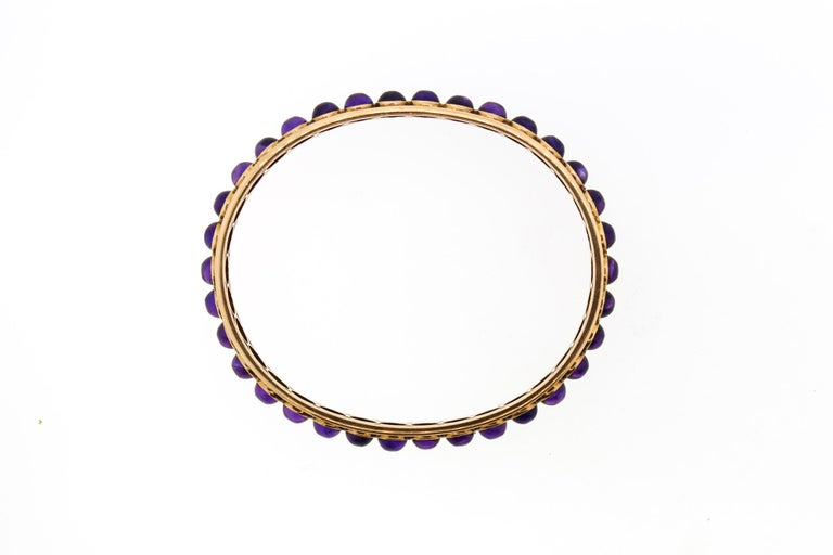 Women's or Men's Antique Victorian 14 Karat Rose Gold Cabochon Amethyst Bangle Bracelet For Sale