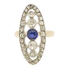 Antique Victorian 14 Karat Rose Gold Diamond and Sapphire Dinner Ring