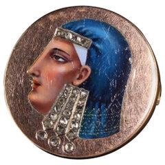 Antique Victorian 14 Karat Rose Gold Egyptian Revival Enameled Diamond Pin