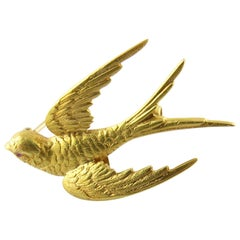 Antique Victorian 14 Karat Yellow Gold and Ruby Barn Swallow Brooch
