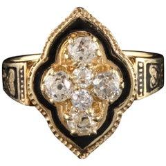 Antique Victorian 14 Karat Yellow Gold Diamond and Black Enamel Shield Ring