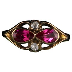 Antique Victorian 14 Karat Yellow Gold Diamond and Ruby Ring