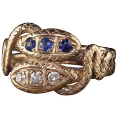 Antique Victorian 14 Karat Yellow Gold Diamond and Sapphire Double Snake Ring