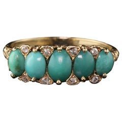 Antique Victorian 14 Karat Yellow Gold Diamond and Turquoise Ring