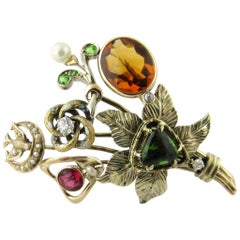 Antique Victorian 14 Karat Yellow Gold Diamond, Gemstone and Pearl Hatpin Brooch