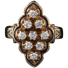 Antique Victorian 14 Karat Yellow Gold Diamond Navette Ring