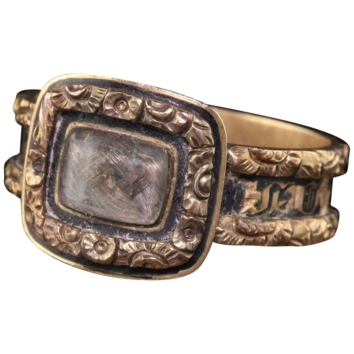 Antique Victorian 14 Karat Yellow Gold Engraved Black Enamel Mourning Ring