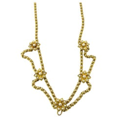 Antique Victorian 14 Karat Yellow Gold Festoon Style Seed Pearl Flower Necklace