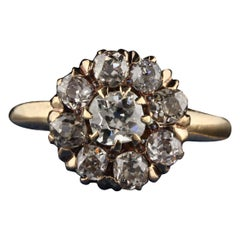 Antique Victorian 14 Karat Yellow Gold Old Mine Cut Diamond Engagement Ring