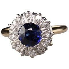 Antique Victorian 14 Karat Yellow Gold Old Mine Cut Diamond Sapphire Ring