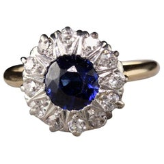 Antique Victorian 14 Karat Yellow Gold Old Mine Cut Diamond Sapphire Ring