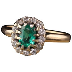 Antique Victorian 14 Karat Yellow Gold Old Mine Diamond and Emerald Ring