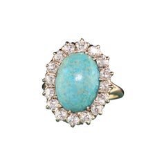 Antique Victorian 14 Karat Yellow Gold Old Miner Cut Diamonds and Turquoise Ring