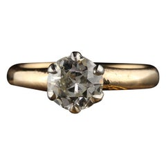 Antique Victorian 14 Karat Yellow Gold Platinum Old Euro Cut Diamond Ring