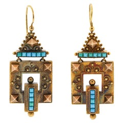 Antique Victorian 14 Karat Yellow Gold Turquoise Pendant Earrings
