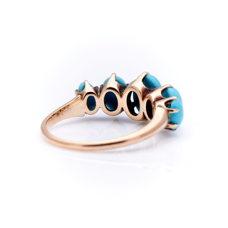 Antique, Victorian, 14 Carat Gold, Natural Turquoise Five-Stone Half Hoop Ring In Excellent Condition For Sale In Rochford, Essex