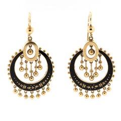 Antique Victorian 14 Karat Black Enamel Fringe Pendant Earrings