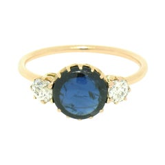 Antique Victorian 14k Gold 2.00ct GIA No Heat Burma Sapphire & Euro Diamond Ring