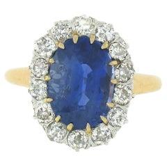 Antique Victorian 14k Gold AGL Ceylon No Heat Sapphire & Diamond Engagement Ring