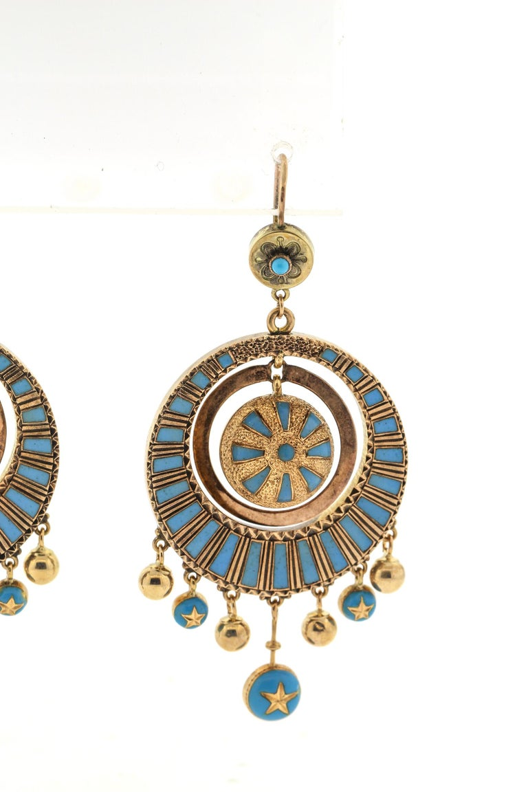 Antique Victorian 14 Karat Gold Blue Enamel Dangling Earrings In Good Condition For Sale In New York, NY