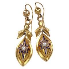 Antique Victorian 14K Gold Blue Enamel Pearl Dangle Star Earrings