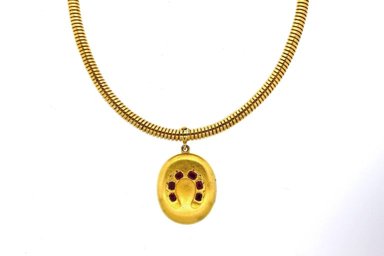 Antique Victorian Russian Ruby Gold Horseshoe Pendant Gaspipe Necklace For Sale 2