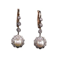Antique Victorian 14K Rose Gold and Silver Top Old Mine Diamond and Pearl Earrin