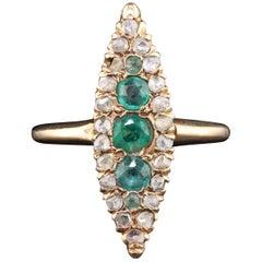 Antique Victorian 14 Karat Rose Gold Emerald and Diamond Navette Ring