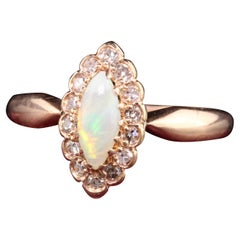 Antique Victorian 14K Rose Gold Opal and Diamond Engagement Ring