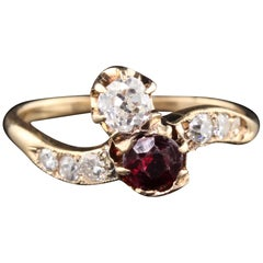 Antique Victorian 14 Karat Rose Gold 'Toi Et Moi' Ruby and Diamond Ring