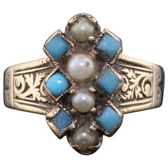 Antique Victorian 14 Karat Rose Gold Turquoise and Seed Pearl Ring