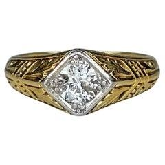 Antique Victorian 14K Yellow Gold 0.37ct Diamond Rhombus Ring