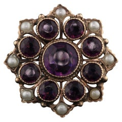 Antique Victorian 14 Karat Yellow Gold, Amethyst and Pearl Brooch