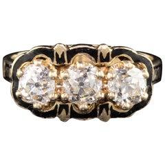 Antique Victorian 14 Karat Yellow Gold Diamond and Black Enamel 3-Stone Ring
