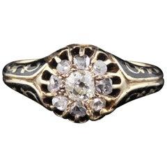 Antique Victorian 14 Karat Yellow Gold Diamond and Black Enamel Cluster Ring