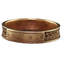 Antique Victorian 14K Yellow Gold Mourning Hair Band Ring