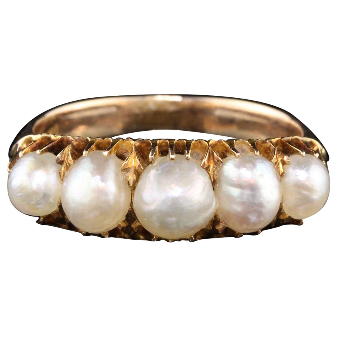 Antique Victorian 14 Karat Yellow Gold Natural Pearl 5-Stone Half Hoop Ring