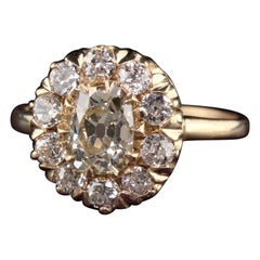 Antique Victorian 14K Yellow Gold Old Mine Cushion Cut Diamond Engagement Ring