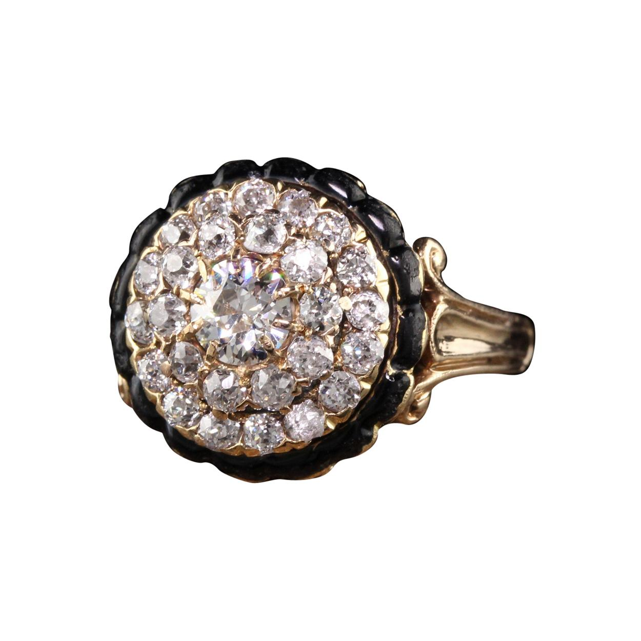 Antique Victorian 14K Yellow Gold Old Mine Diamond and Enamel Engagement Ring