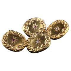 Antique Victorian 14K Yellow Gold Old Mine Diamond Ruby Cufflinks