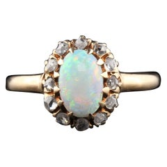 Antique Victorian 14 Karat Yellow Gold Opal and Rose Cut Diamond Cluster Ring