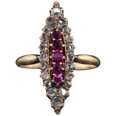 Antique Victorian 14 Karat Yellow Gold, Rose Cut Diamond and Ruby Navette Ring