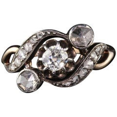 Antique Victorian 14 Karat Yellow Gold and Silver Top 3-Stone Diamond Ring