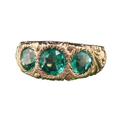 Antique Victorian 14k Yellow Gold Three Stone Engraved Ring