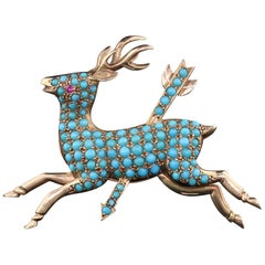 Antique Victorian 14 Karat Yellow Gold and Turquoise Deer Brooch