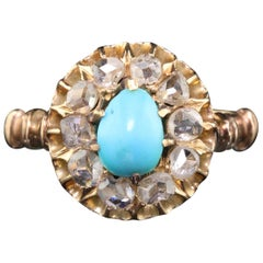 Antique Victorian 14 Karat Gold Turquoise and Rose Cut Diamond Cluster Ring