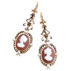 Antique Victorian 14 Karat Cameo Pearl and Diamond Dangle Filgree Earrings
